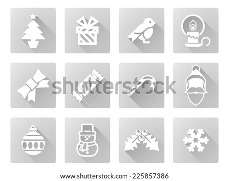 Christmas icon set including Santa, snow flake, cracker, robin, snowman and lots more - stock vector