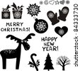 christmas icon set  isolated on white background. Vector Illustration - stock vector