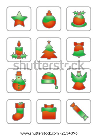 Christmas Icon Set On White:Two-coloured green-red Christmas icons suitable for white or light-coloured backgrounds. Large JPG version also available in my portfolio.