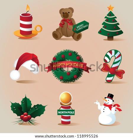 Christmas Icon Set Vector - stock vector