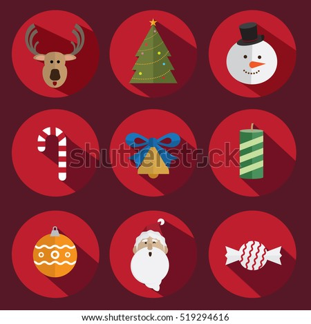 Christmas icon vector red background
