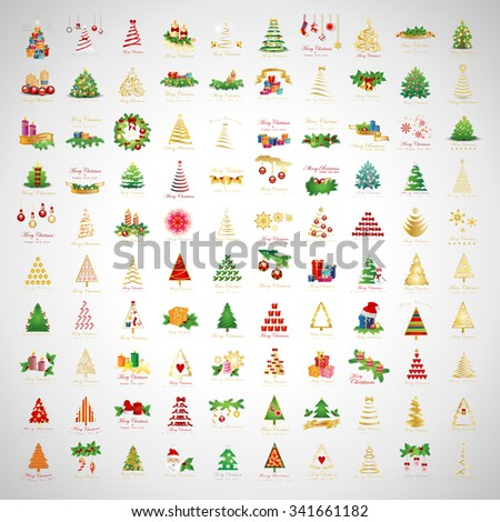 Christmas Icons And Elements Set - Vector Illustration, Graphic Design. Collection Of Xmas Icons. For Web, Websites, Print, Presentation Templates, Mobile Applications And Promotional Materials    - stock vector