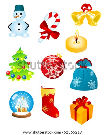 Christmas icons and symbols for design isolated on white - also as emblem. Jpeg version also available in gallery - stock vector