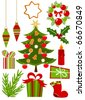 Christmas icons ans symbols collection in red and green colors. Vector illustration - stock photo
