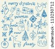 Christmas icons doodles sketchbook - stock vector