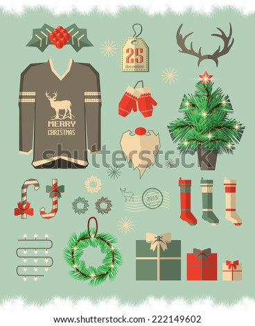 Christmas icons, elements and illustrations