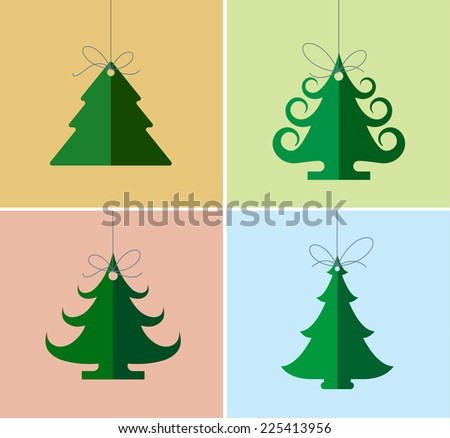 Christmas icons, elements and illustrations. Christmas Greeting Card. Christmas tree.  - stock vector