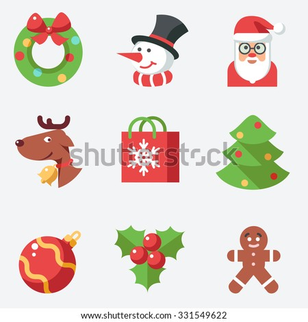 Christmas icons, flat design - stock vector