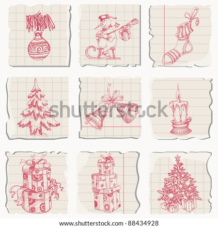 Christmas icons hand drawn on pieces of paper - stock vector