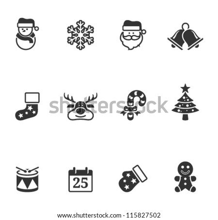 Christmas icons in single color - stock vector