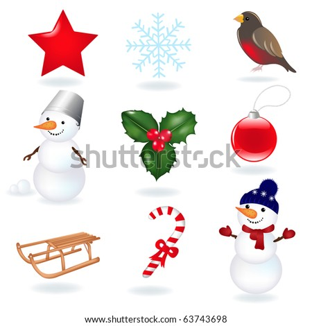 Christmas Icons, Isolated On White Background, Vector Illustration