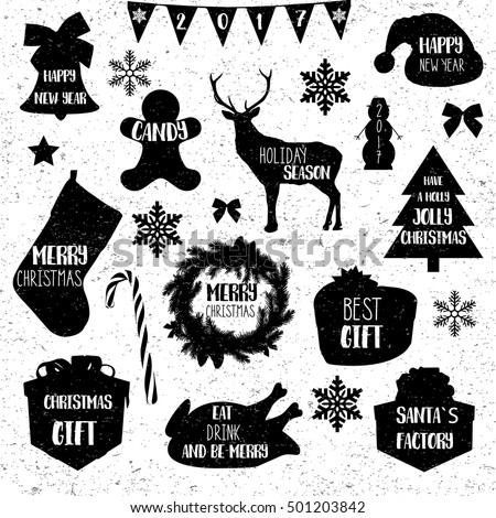 Christmas icons. Merry Christmas vintage grunge black icons on white. Typographic elements. Candy, New Year tree, baked turkey, santa`s factory gift. Holly jolly Christmas. Vector 10 eps.