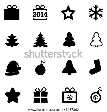 Christmas icons. New Year 2014 icons. Vector black icons set. Christmas gift box, ball, snowflake, tree, star. Flat icons. On white.