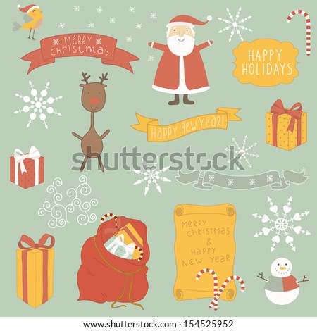 Christmas Icons/Objects Collection. Flower vector illustration. - stock vector