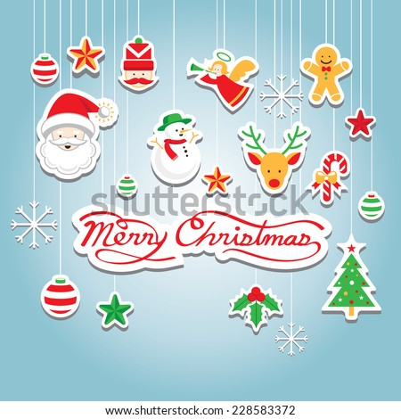 Christmas Icons : Objects, Hanging Decoration - stock vector
