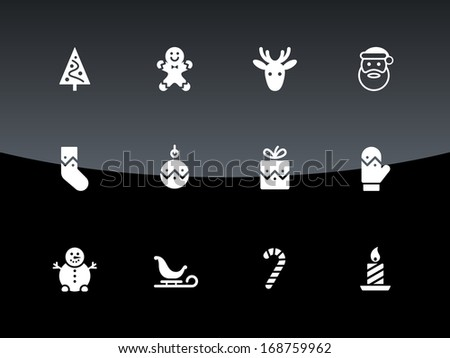Christmas icons on black background. Vector illustration. - stock vector