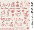 Christmas icons seamless pattern vector - stock vector