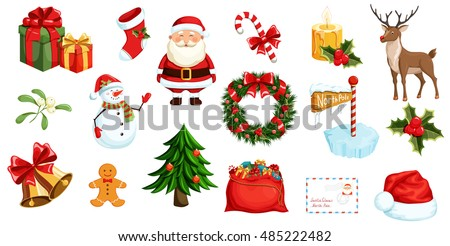 Christmas icons set. Holiday objects collection illustration: santa, wreath, north pole, snowman, gift, christmas tree, santa hat, bag, reindeer, mistletoe, holly, toy, bell