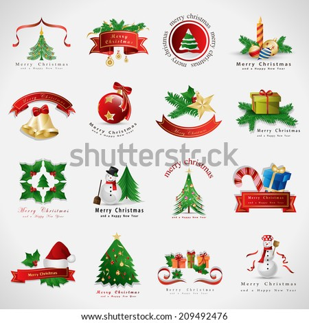 Christmas Icons Set - Isolated On Gray Background - Vector Illustration, Graphic Design Editable For Your Design - stock vector