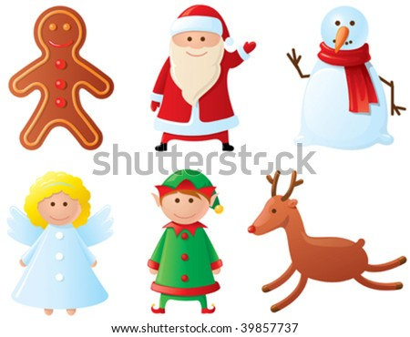 Christmas icons set. Part 3 (characters) - stock vector