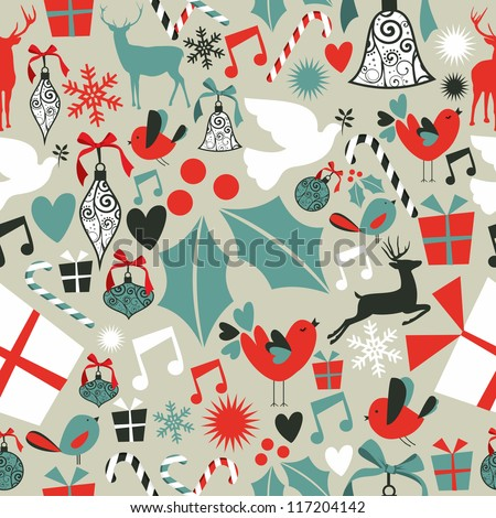 Christmas icons set seamless pattern background. Vector illustration layered for easy manipulation and custom coloring. - stock vector