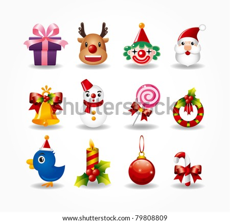 christmas icons set. Vector