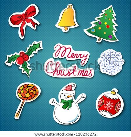 Christmas icons set.Vector illustration - stock vector