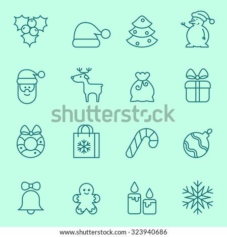Christmas icons, thin line design - stock vector