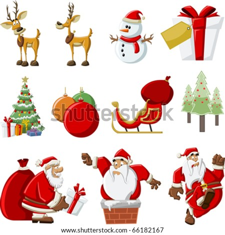 Christmas icons. Vector - stock vector