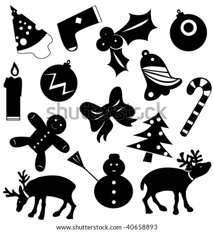Christmas icons vector silhouettes - stock vector