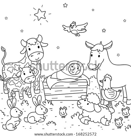 Christmas illustration. Baby Jesus and animals - stock vector