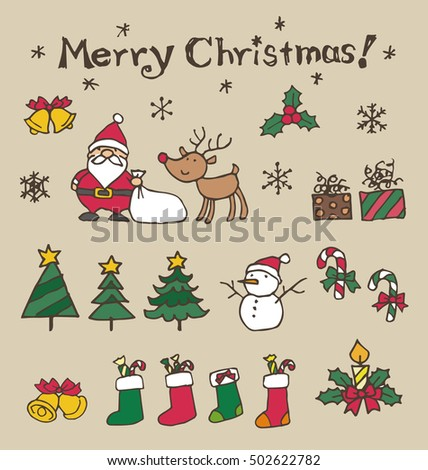 Christmas illustration elements, Santa Claus, reindeer, Christmas tree, snowman and snowflake