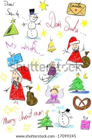 Christmas illustration looks like child draw - stock vector