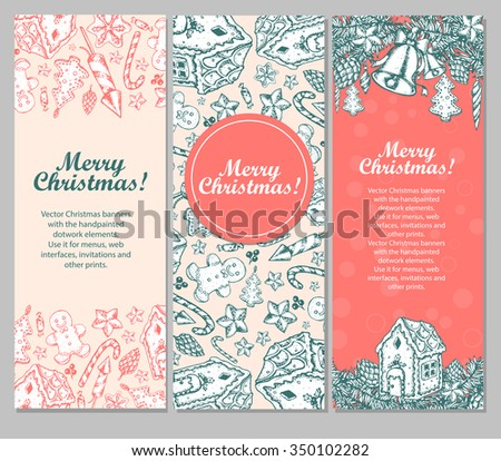 Christmas illustration menu with the vector hand painted elements. Holiday collection, cartoon sketch objects. - stock vector
