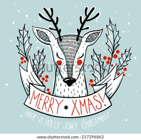 Christmas illustration of a cute deer with holly berries - stock vector