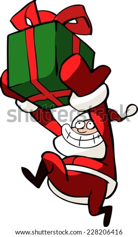 Christmas illustration of a funny Santa Claus running and carrying a bright box of presents isolated on white