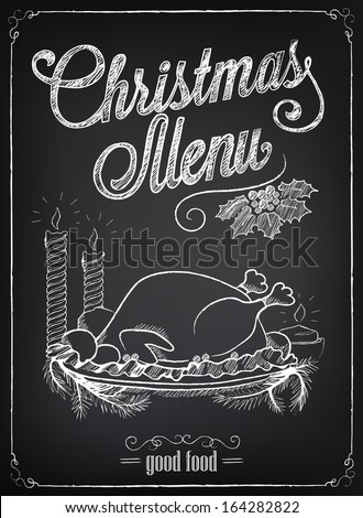 Christmas illustration of a vintage graphic element for menu on the chalkboard. Chalking, freehand drawing - stock vector