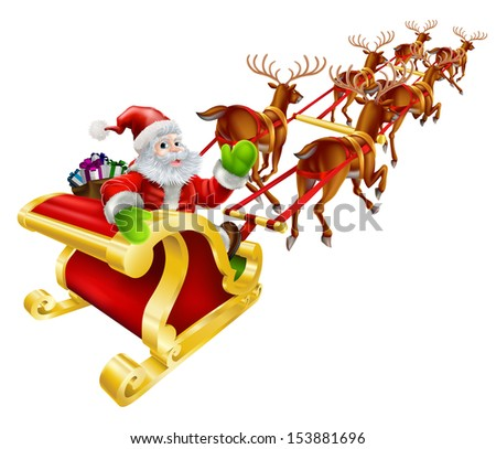 Christmas illustration of Cartoon Santa Claus flying in his sled or sleigh and waving  - stock vector
