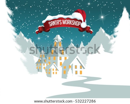 Christmas illustration of Santa Claus's workshop at the North Pole.  EPS 10 vector.