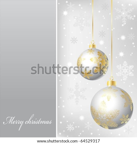 Christmas illustration on a silver background. Vector. - stock vector