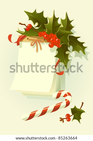 Christmas illustration: wall calendar decorated with  holly and ribbons