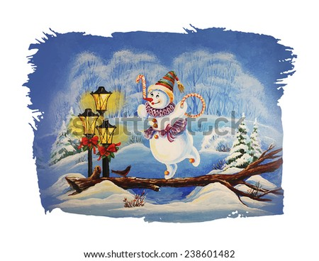 Christmas Illustration with cute winter characters.  Snowman clown. Snowman artist. Circus. - stock vector