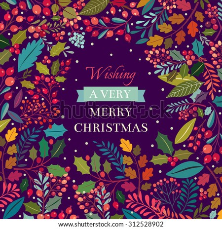 Christmas illustration with floral background - stock vector