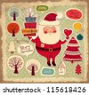 Christmas illustration with funny Santa Claus - stock photo