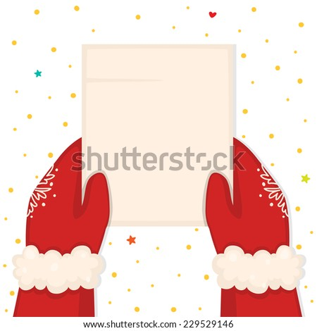 Christmas illustration with hands holding a blank list, vector. - stock vector