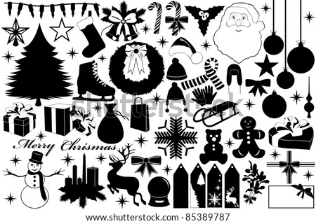 Christmas illustration with objects - stock vector