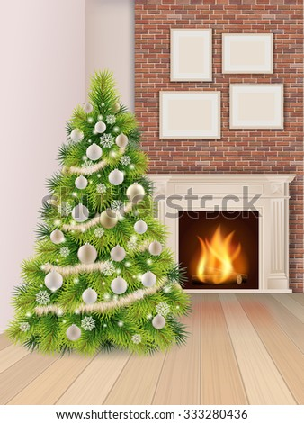 Christmas interior with christmas tree decorated balls and a burning fireplace. Vector illustration. - stock vector