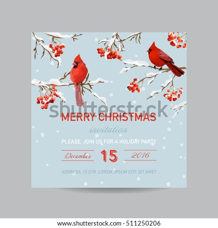 Christmas Invitation Card - Winter Birds and Berries in Watercolor Style - vector
