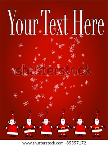 Christmas invitation, flyer or background with Santa Claus Elf types - stock vector