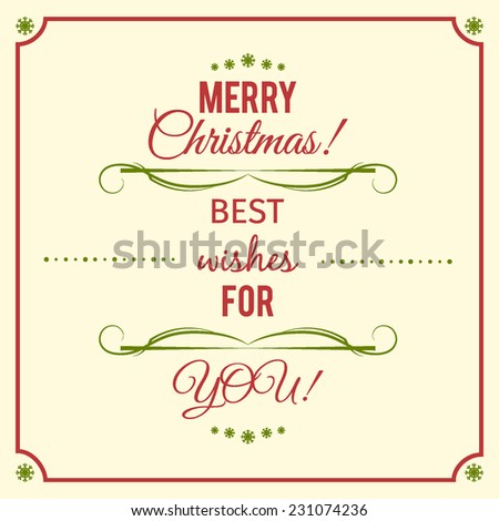 Christmas invitation with best wishes in typography style - stock vector